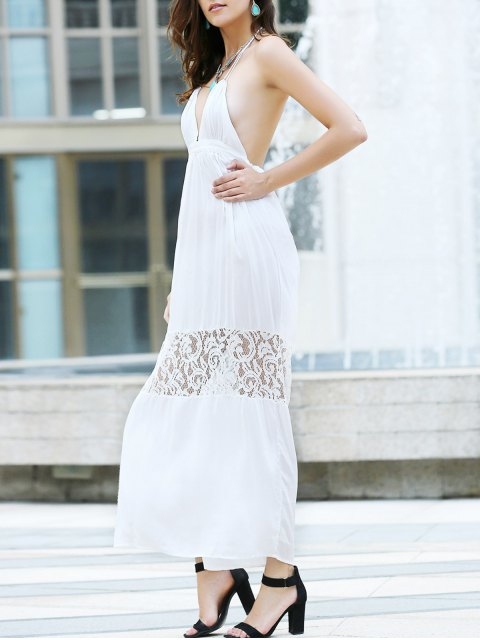 trendy Open Back Halter Lace Panel Maxi Dress - WHITE L Mobile