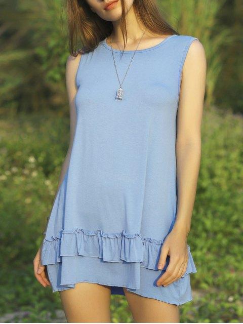 unique Flouncing Spliced Scoop Neck Sleeveless Dress - LIGHT BLUE L Mobile
