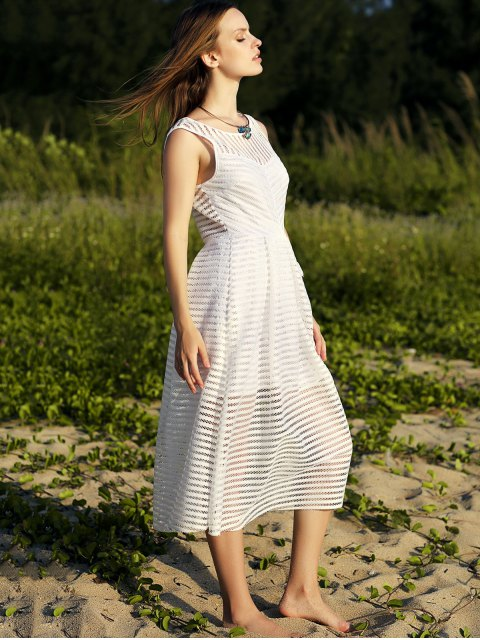 outfit Backless Solid Color Round Neck Sleevelesss Dress - WHITE M Mobile