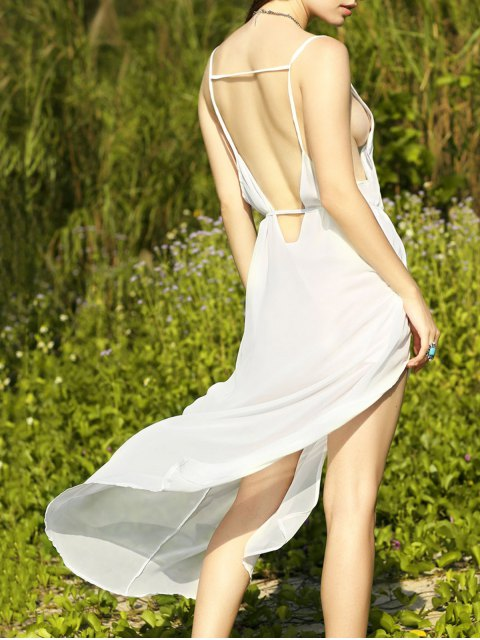 trendy Deep V Neck Furcal Chiffon Dress - WHITE L Mobile