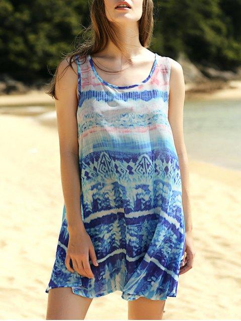 trendy Printed Scoop Neck Tank Dress - COLORMIX L Mobile
