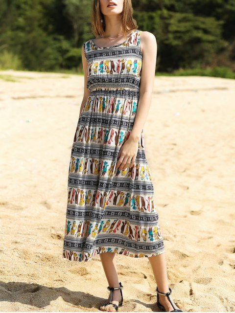 affordable Colorful Animal Print Long Dress - COLORMIX M Mobile