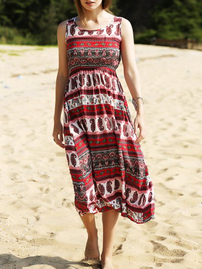 Ethnic Print Waisted Long Dress - Red