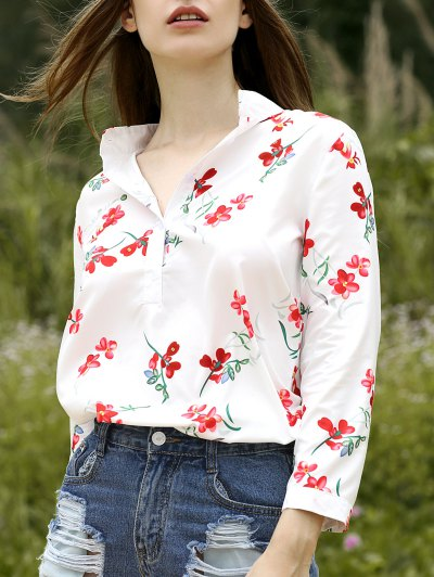 Floral Stand Neck Half Sleeve Shirt - White