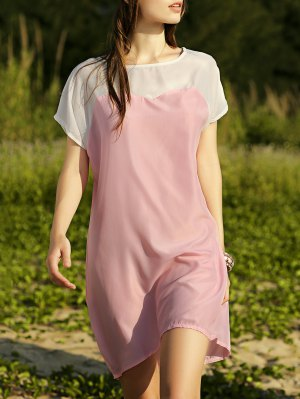 Batwing Sleeve Two-Tone Dress - Pink