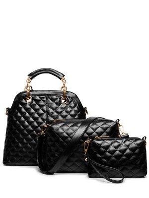 Checked Metal Solid Color Tote Bag - Black