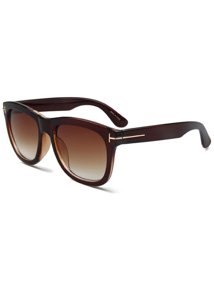 Letter T Tea-Colored Square Sunglasses