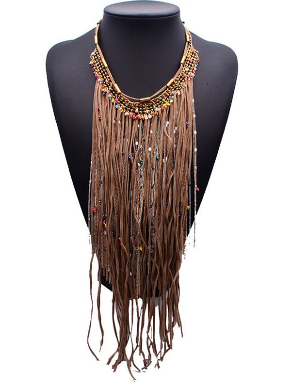 Ropes Alloy Tassels Statement Necklace