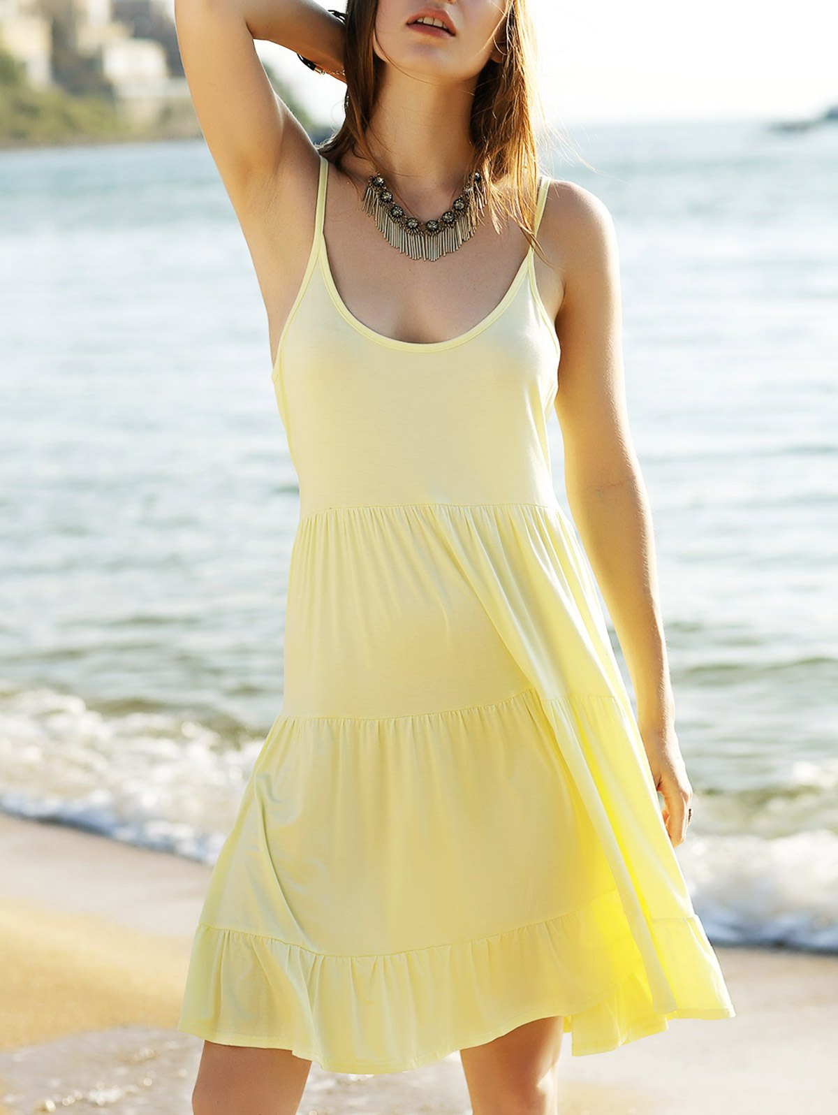 Tiered Solid Color Camisole Dress
