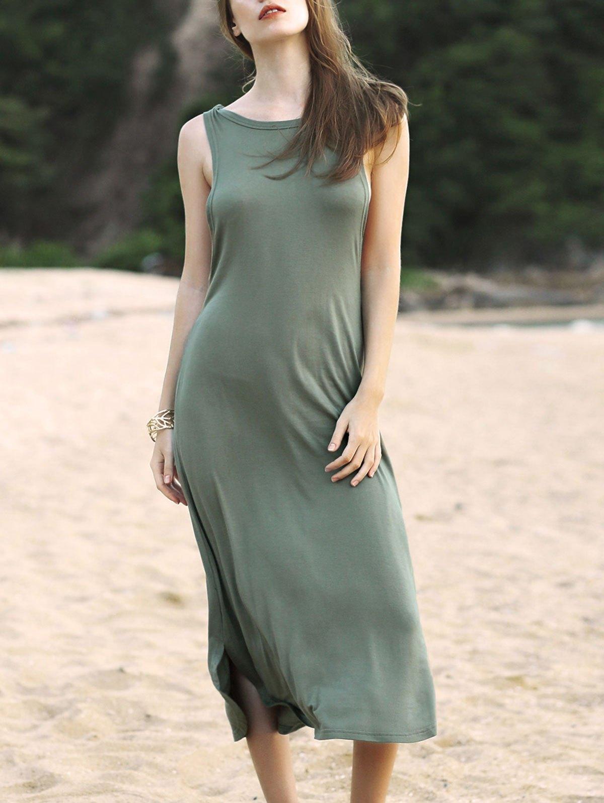 Round Neck Irregular Hem Solid Color Dress