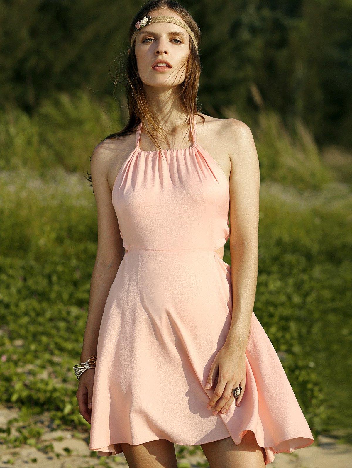 Halter Backless Solid Color A Line Dress