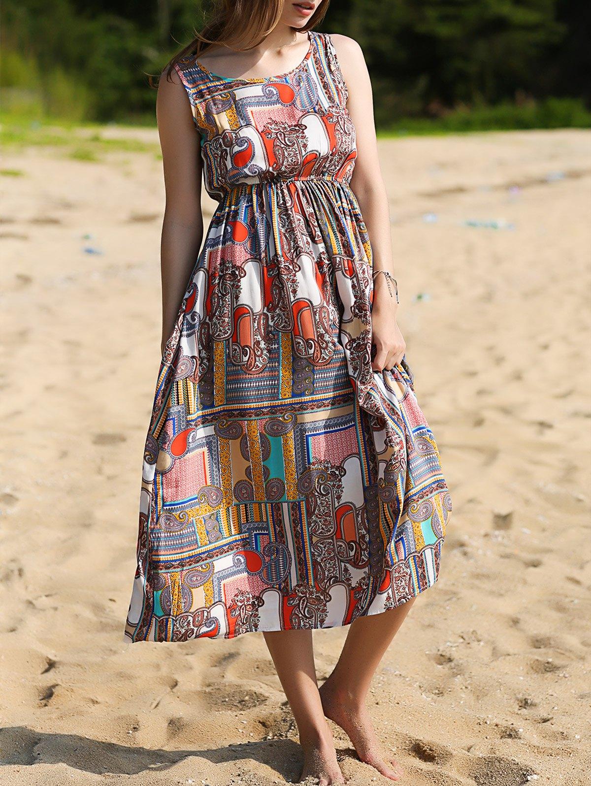 Sleeveless Printed Bohemian Dress