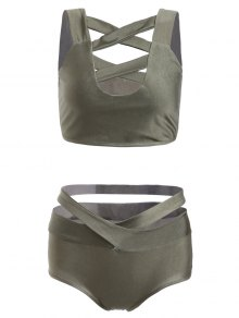 Buy Solid Color Hollow Straps Bikini Set - ARMY GREEN L