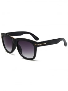 Letter T Bright Black Square Sunglasses