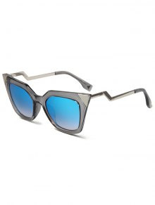 High Pointed Zigzag Leg Cat Eye Sunglasses - Transparent Gray