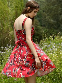 Printed Vintage Spaghetti Straps Ball Gown Dress