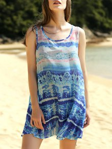 Printed Scoop Neck Tank Dress - L