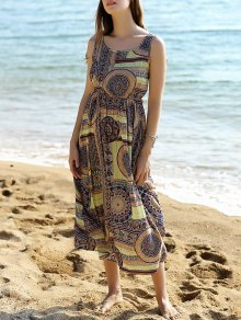 Sleeveless Printed Long Dress