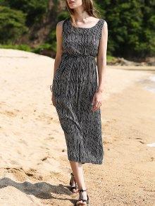 Striped Waisted Long Dress - Black 2xl
