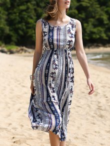 Printed Waisted Long Dress