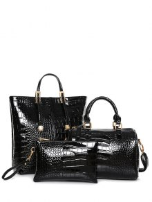 Crocodile Print Metal Buckles Tote Bag