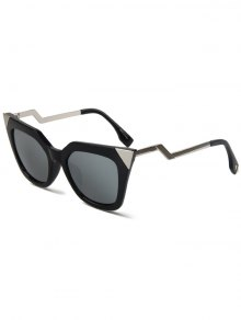 High Pointed Black Cat Eye Sunglasses - Silver
