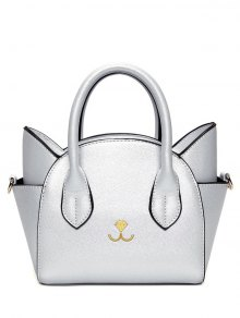 Cat Shape Solid Color Tote Bag - Silver