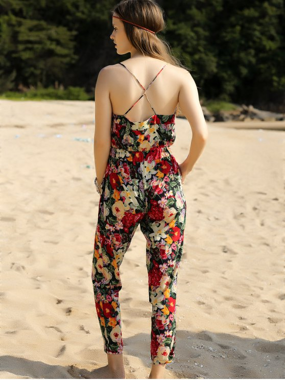 Red Floral Print Cami Jumpsuit - RED S Mobile