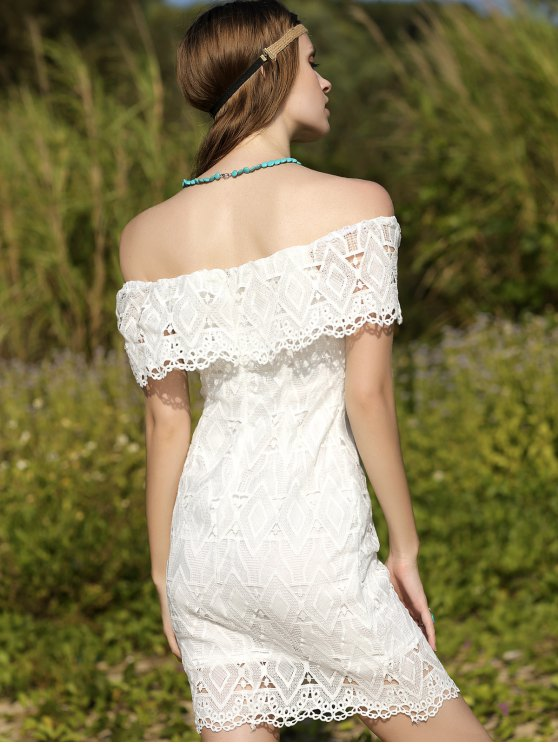 Off-The-Shoulder Lace Dress - WHITE M Mobile