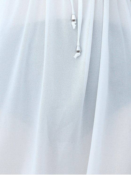 Pure Color Plunging Neck Half Sleeve Chiffon Dress - WHITE ONE SIZE(FIT SIZE XS TO M) Mobile