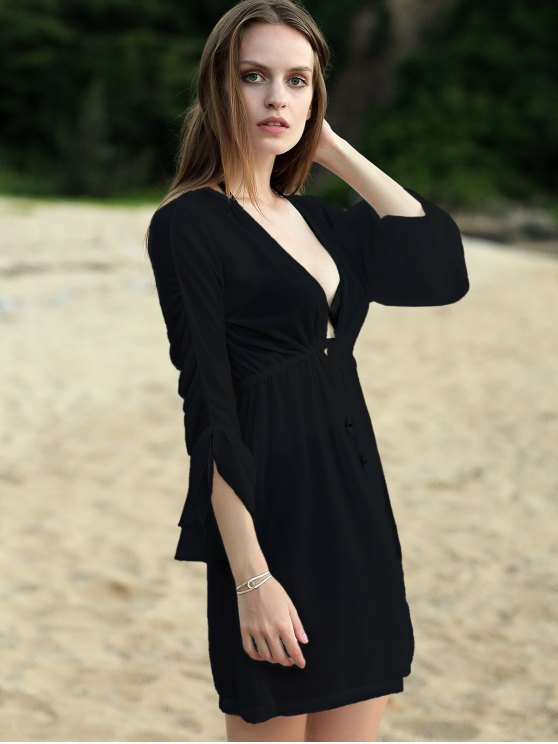 Pure Color Plunging Neck Half Sleeve Chiffon Dress - BLACK ONE SIZE(FIT SIZE XS TO M) Mobile