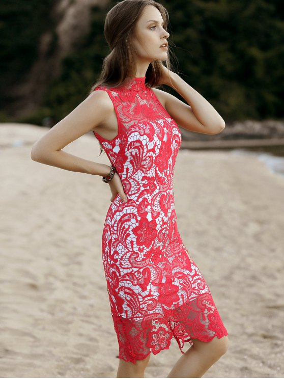Cut-Out Back Midi Lace Dress - RED L Mobile