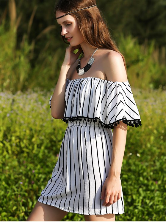 Striped Short Sleeve Off The Shoulder Dress - WHITE S Mobile