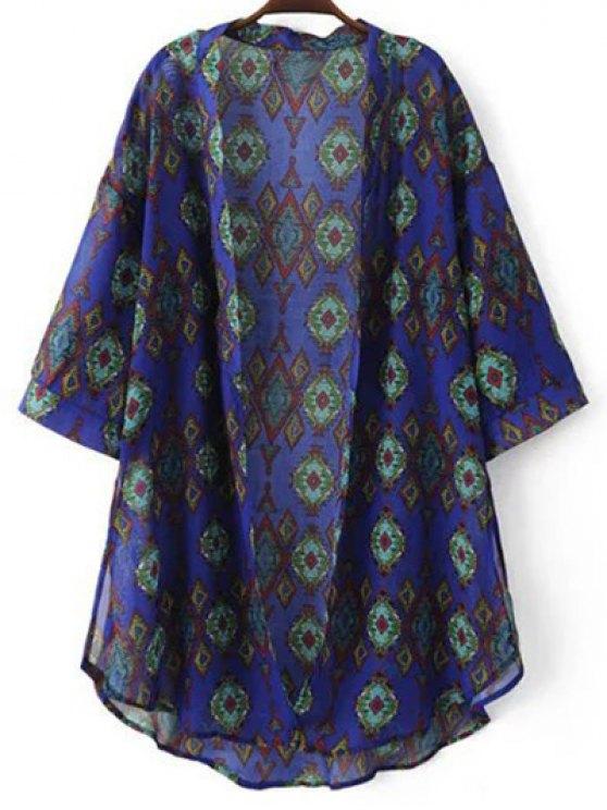 unique Print 3/4 Sleeve Chiffon Kimono Blouse - DEEP PURPLE M