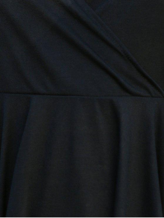 Crossed V-Neck Sleeveless Solid Color Dress - BLACK XL Mobile
