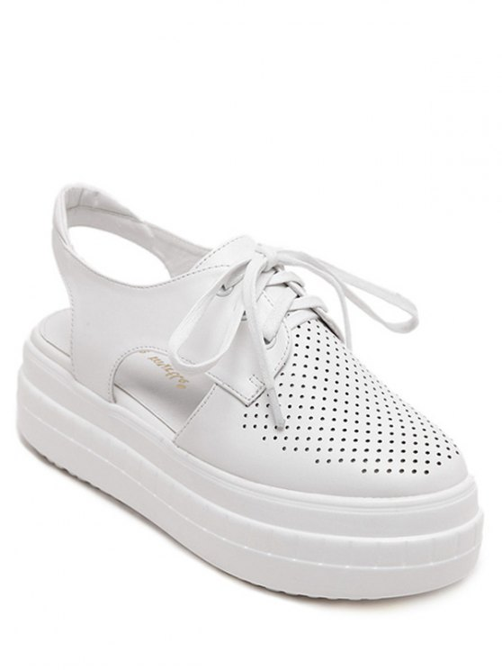 women's Hollow Out Slingback Lace-Up Platform Shoes - WHITE 39