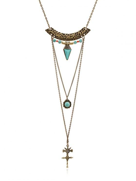 lady Faux Gem Carving Cross Necklace - GOLDEN