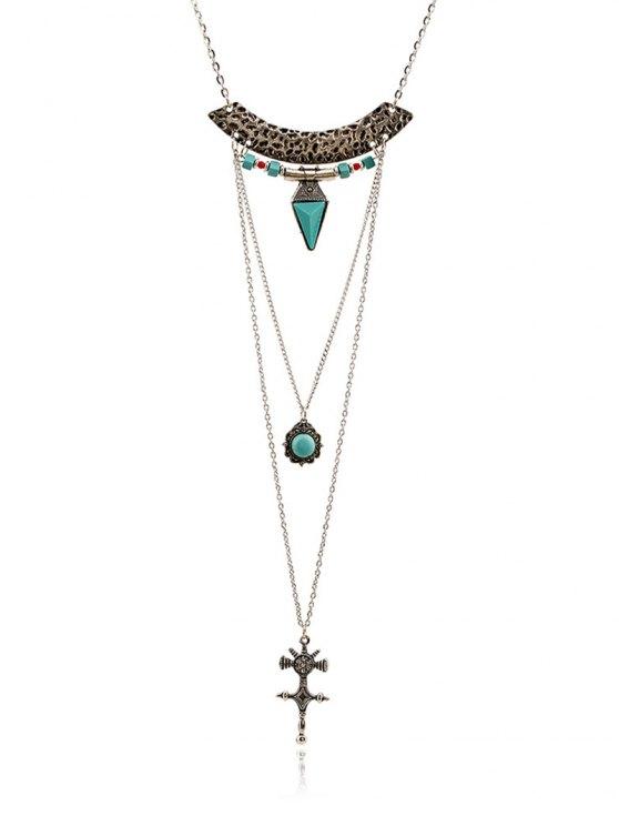 best Faux Gem Carving Cross Necklace - SILVER
