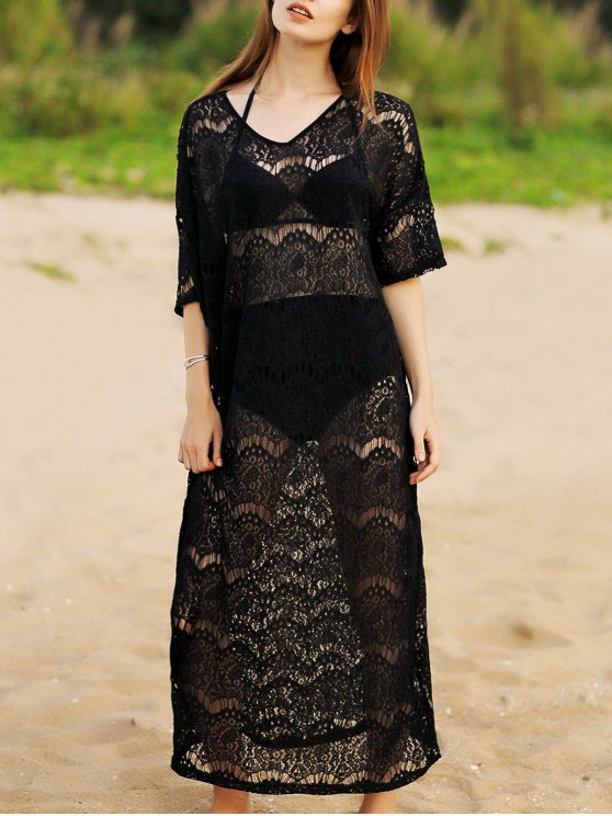 Hollow Out V-Neck 3/4 Sleeve Lace Cover Up - BLACK ONE SIZE(FIT SIZE XS TO M) Mobile