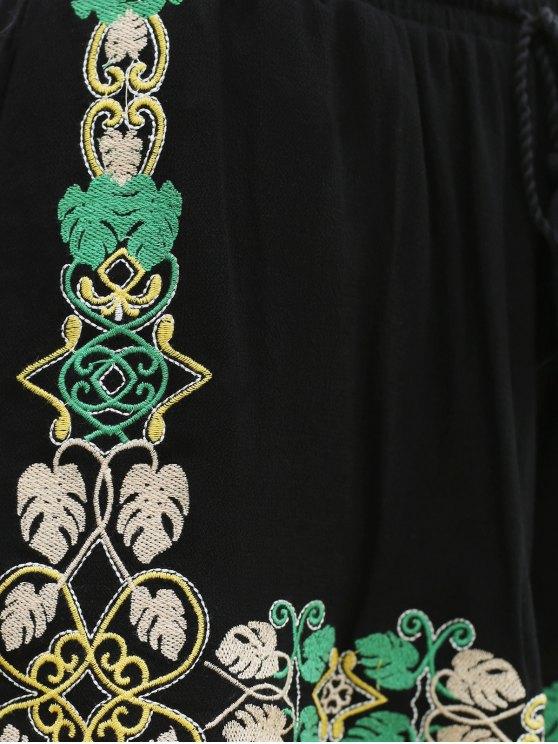 Embroidery Elastic Waist Wide Leg Shorts - BLACK M Mobile