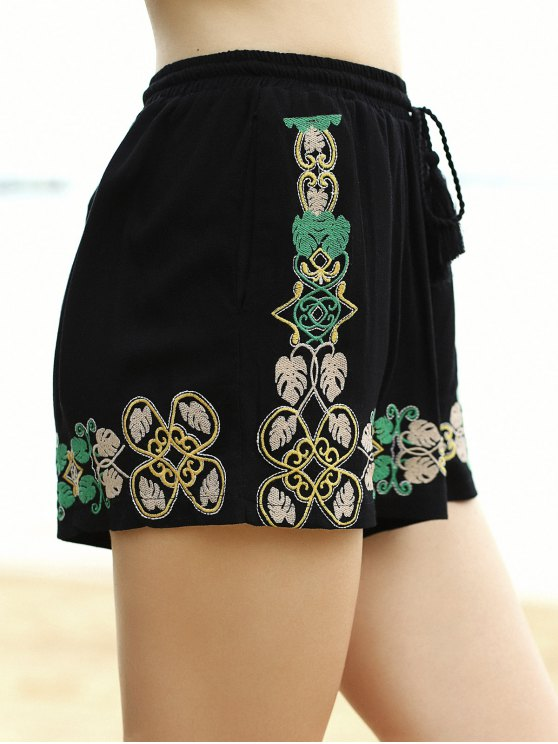 Embroidery Elastic Waist Wide Leg Shorts - BLACK L Mobile
