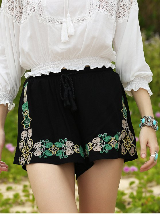 Embroidery Elastic Waist Wide Leg Shorts - BLACK S Mobile