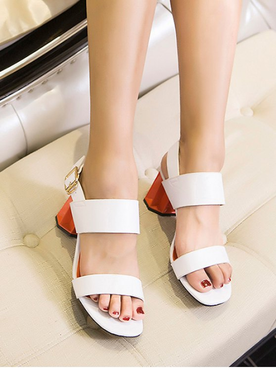 Chunky Heel Buckle Solid Color Sandals - WHITE 37 Mobile