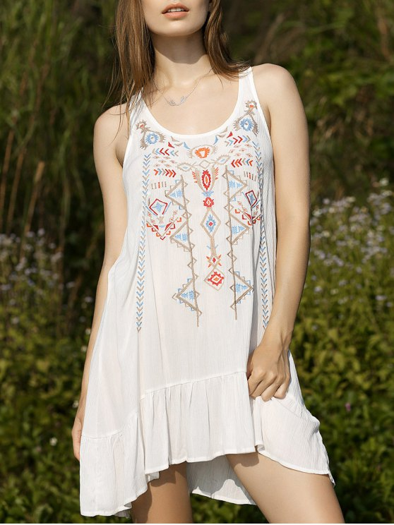 Embroidery Scoop Neck Flouncing Dress - WHITE S Mobile