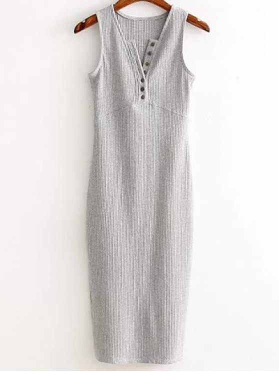 Side Slit Ribbed Dress - LIGHT GRAY ONE SIZE(FIT SIZE XS TO M) Mobile