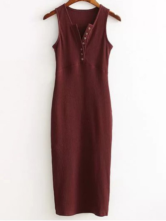 affordable Side Slit Ribbed Dress - WINE RED ONE SIZE