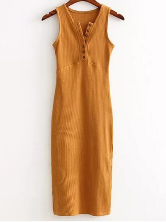 Side Slit Ribbed Dress - EARTHY ONE SIZE(FIT SIZE XS TO M) Mobile