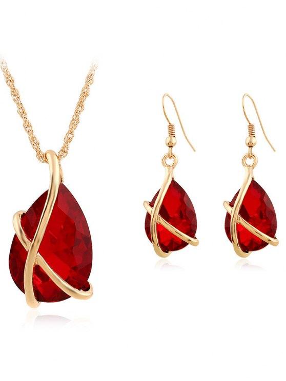 online Faux Crystal Teardrop Cross Necklace and Earrings - RED