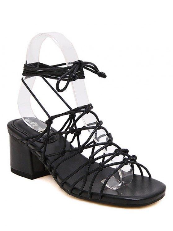 Lace-Up Strappy Sandales à talons Chunky - Noir 38
