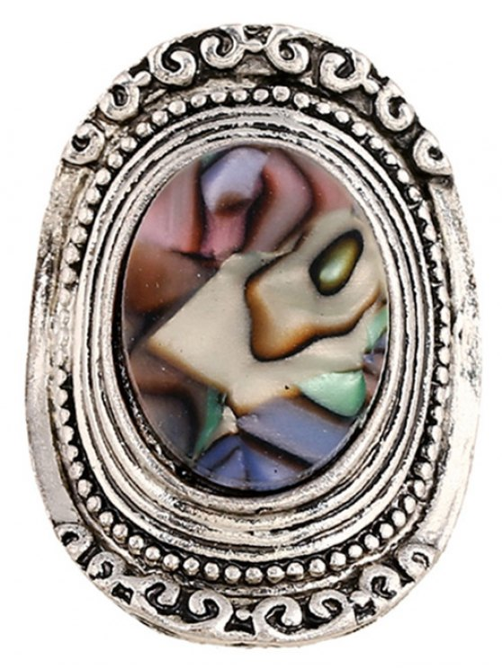 Faux Gem Embossed Oval Ring - SILVER  Mobile